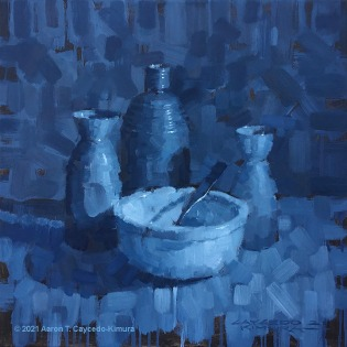 "Still Life with Three Tokkuri, Bowl, & Spoon. Oil on Canvas. 18"" x 18""."