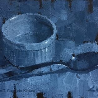 """Ramekin & Spoon. Oil on Sanded Paper. 4"""" x 6"""". SOLD"""